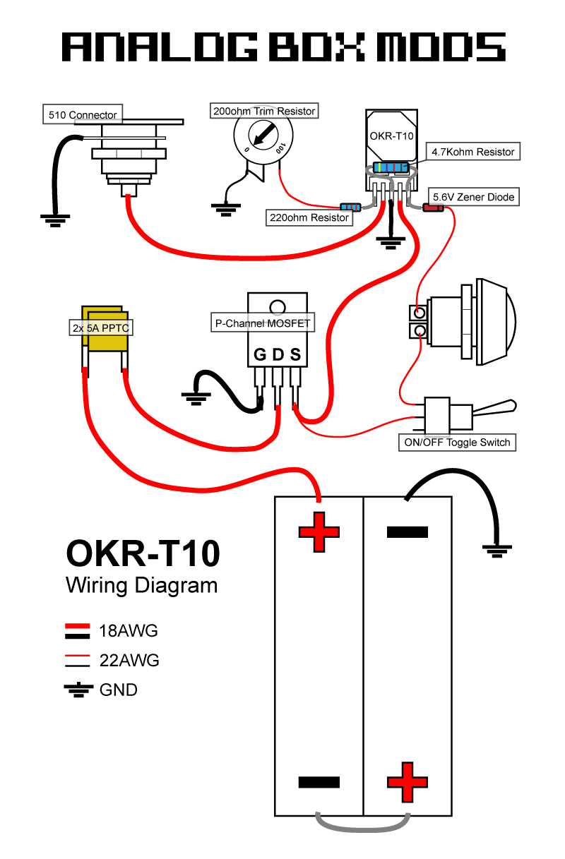 AnalogBoxMods_OKR T10_Wiring_Diagram diy box mod kit okr t10 regulated 10a 50w canada unregulated box mod wiring diagram at virtualis.co